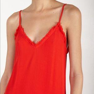 Raquel Allegra • Red Frayed Textured Crepe Cami